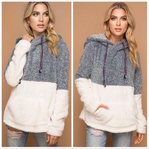 Navy soft fuzzy hoodie sweaters